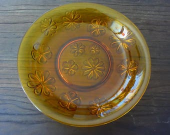 Amber glass dish - VERECO - Made in France - Flowers - Vintage - Pop - Bohemian - kitchen -