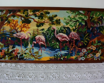 Flamingos Canvas VINTAGE - FRANCE - Year 1980 - Handmade -