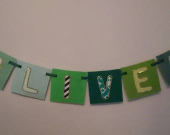 EARTH Bright, greens, bespoke wall hanging banners for children's rooms, nursery, names made-to-order with felt and hand-sewn beaded trims
