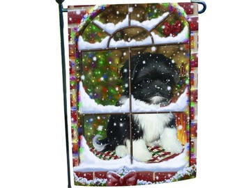 Please Come Home For Christmas Shih Tzu Dog Sitting In Window Garden Flag
