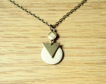 Bronze triangle and white sequin necklace