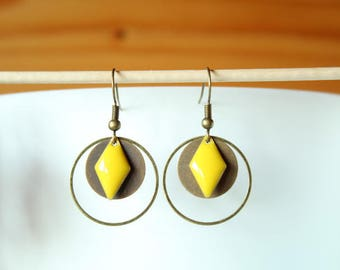 Bronze earrings enamel Yellow Sun and round diamond