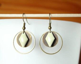 Bronze beige cream and round diamond enamel earrings
