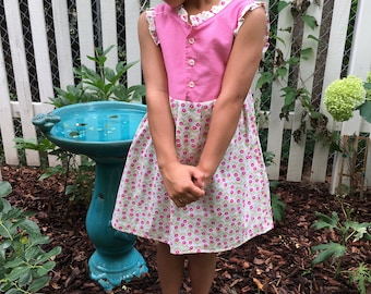 pink polka dot and rose dress {size 4/5, emmamadewithlove}