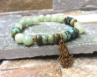 Hamsa bracelet turquoise jade gold mala bracelet