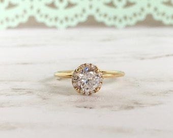 1.00ct Engagement Ring Yellow Gold Filled Sterling Silver Proposal Ring Halo Setting