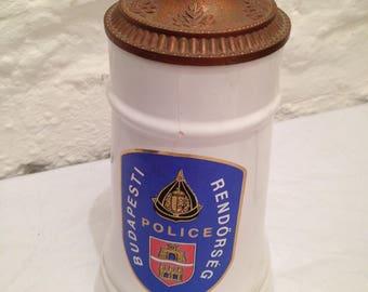 Vintage Hungarian Police beer stein. Collectables/Budapesti Rendörség/beer steins/ceramic mugs/soviet era/
