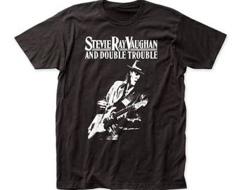 Stevie Ray Vaughan Live Alive Men's Soft Fitted 30/1 Cotton Tee (SRV02) Black