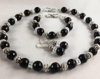 Black Onyx and Swarovski Crystal Set