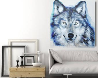 large painting Wolf original 36 x 36 inches or made to order