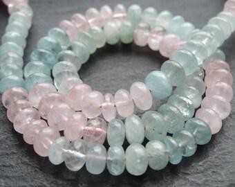 6.5mm / 7mm Aquamarine & Morganite rondelles, 37cm string, 80 beads, (3221)