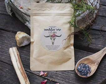 RAMBLIN ROSE All natural tub tea. Patchoui and rose scented. 2.5 oz Single serving.