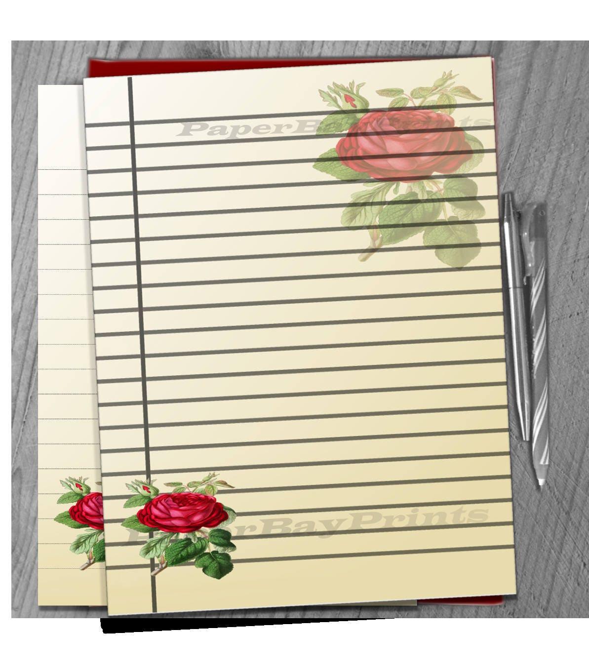 Printable Writing Paper Vintage Rose Print Scrapbook Paper