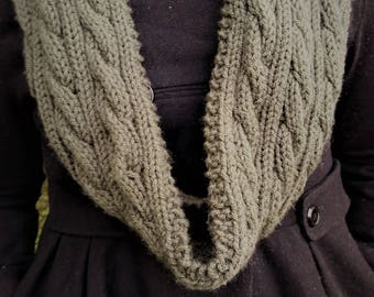 Forrest Green Cable Knit Infinity Scarf (CHOOSE YOUR COLOR)