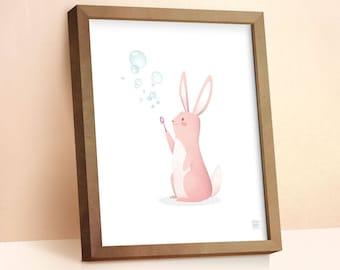 Nursery Art   Rabbit Print   Childrens Wall Art   Nursery Print   Rabbit Gift   Nursery Decor   Baby Gift   Nursery Wall Art   Cute Gift