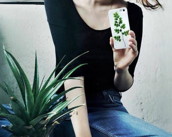 Green iPhone SE case Maidenhair fronds iPhone 5 case resin floral bumper case iPhone 5s case leaves phone case