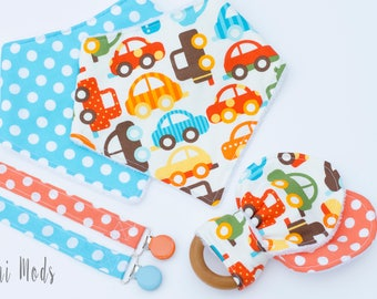 Boys Car Baby Gift Set, Baby Shower Gift Set, Blue and Orange Baby Gift, Newborn Baby, Bibs & Burping, Dummy Clips, Teether, Dummy Clip