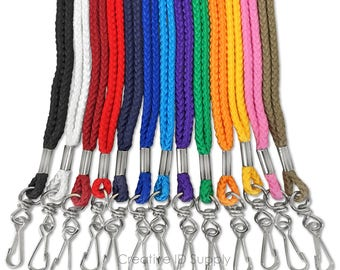 100pcs Rope ID Neck Lanyards with Swivel J Hook for ID cards/Badges