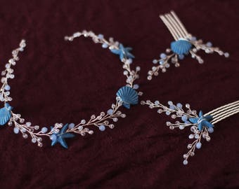 Starfish hair beach wedding hair accessory Starfish Hair Clip beach wedding hair vine ligt blue opal crystal headband Beach Bridal Headband