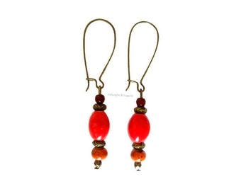 Earrings ethnic red and orange
