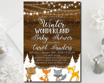 Winter Wonderland Baby Shower Invitation, Woodland Baby Shower Invitation, Digital file, Printable, Wording can be add or changed - 1731