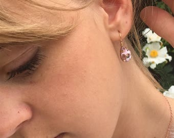 Blush Earrings, Teardrop Crystal Earrings