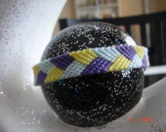 woven Friendship Bracelet purple blue yellow