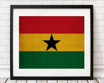 Ghana Flag Print, Ghana Flag Art, Ghana Gifts, Flag Poster, Moving Gift, Vintage Flag Wall Art, West African Gifts, Ghana Art, Ghana Poster