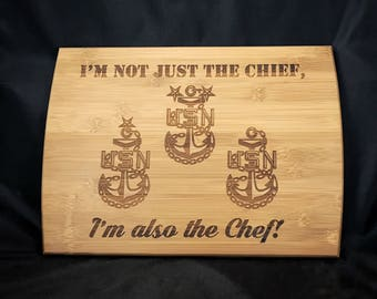 Chief Petty Officer Pinning Gift - Chief Cutting Board - CPO Promotion - Navy cutting Board - Personalized