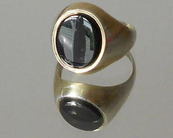 Vintage Hallmarked Silver & Onyx Signet Ring, Large Oval Stone, 1990s