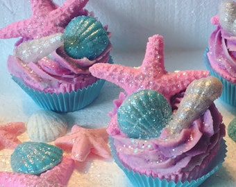 Endless Summer Bath Bomb Cupcake With Bubble Bath Frosting Bath Bomb Starfish And Shea Butter Soap Shells
