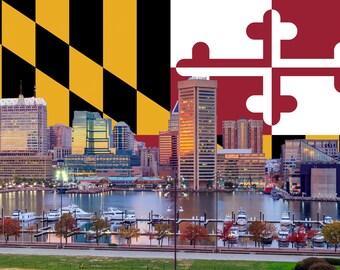 Baltimore Inner Harbor canvas, Maryland Flag ,  Baltimore wall canvas, Inner Harbor photo wall art print, Baltimore Maryland Flag collage