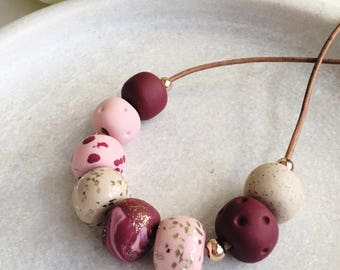 Pretty pink necklace, pink polymer clay necklace , pink beaded necklace, boho necklace , glitter necklace