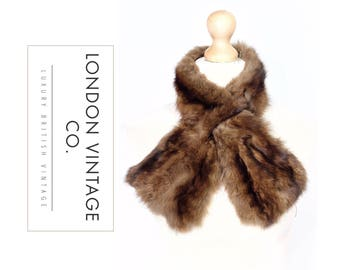 Vintage 1940's/1950's sable real fur scarf/collar/tippet/stole/wrap