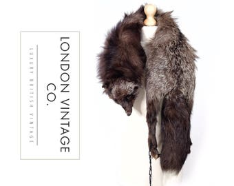 Vintage 1930's/1940's silver fox taxidermy real fur stole/wrap/collar/scarf.ww2/goodwood revival/game of thrones/vintage costume