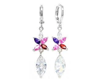 Authentic white gold plated marquise earrings with colorful smaller gems, rainbow marquise gems, purple earring bag black gift box included