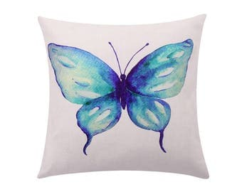 Watercolor butterfly throw pillow cover Turquoise butterfly decorative pillow case Swallowtail butterfly cushion cover Home decor gift 18x18