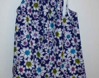 Pillow Case Dress with White Flowers. Available in 2T and 3T.