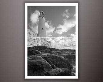 Seascape print, fine art image, Black white, Lighthouse photo, Whitley Bay, North East Seascape, water reflection, rock pool shot