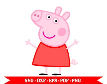 Peppa Pig svg clip art, piglet, digital download eps, dxf, svg, png and pdf. For Silhouette, Cricut, embroidery, Cameo decal