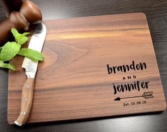 Custom Wood Cutting Board - Personalized Cutting Board - Wedding Gift - Engraved Monogram - Wooden Chopping Block - Engagement Gift