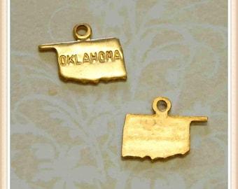 Oklahoma 12 pcs raw brass state charm OK