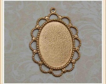 6 pcs raw brass oval cabochon setting bezel frame picture embellisment #3283