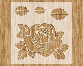 """Rose Flower Stencil MINI SERIES- Sku FR001M (5.5"""" x 5.5"""")"""