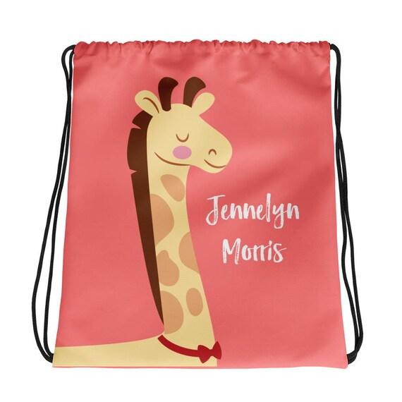 Customized Name Girl's Giraffe Drawstring bag
