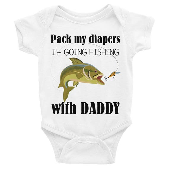 Daddy's Fishing Buddy Baby Onsie, Pack My Diapers I'm Going Fishing with Dadday Infant Bodysuit |Daddy's Fishing Buddy Baby Clothes