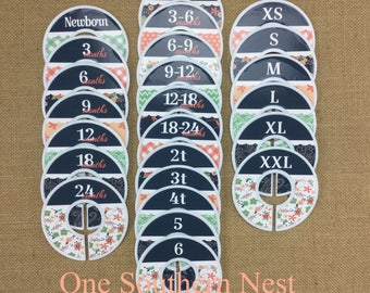 Closet Dividers, Baby Shower Gift, Newborn Baby Gift, Baby Girl Gift, Infant, Toddler, Child, size dividers, Navy, Mint, Coral
