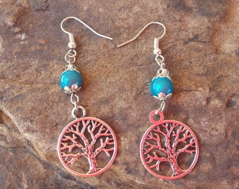 Earrings tree of life turquoise and silver