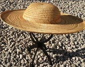 Vintage 50s wide brim straw hat summer hat beach hat vintage super wide brimmed hat