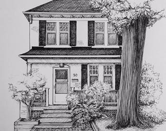 Custom Pen and Ink House Portrait 10x12 India Ink on Archival Paper Perfect for Housewarming, Anniversary or Newlyweds